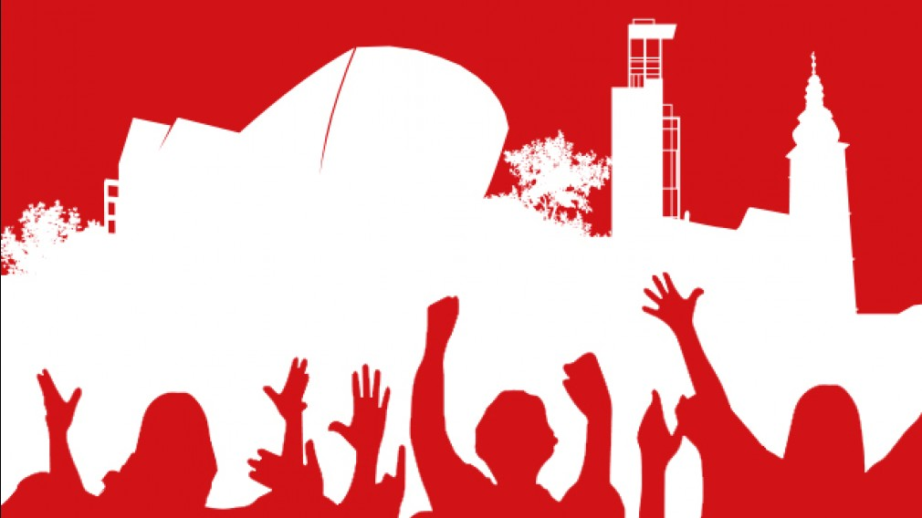 Eine Grafik die Menschen beim Feiern zeigt. (Grafik: Katharina Hochecker)