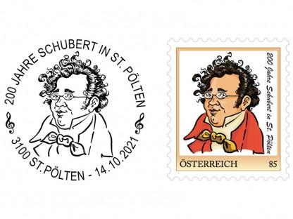 """Personalisierten Briefmarke und Sonderstempel """"200 Jahre Franz Schubert in St. Pölten"""". (Foto: Alfred Gugerell)"""