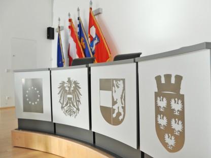 Foto vom leeren Gemeinderatssitzungssaal im St. Pöltner Rathaus. (Foto: Josef Vorlaufer)