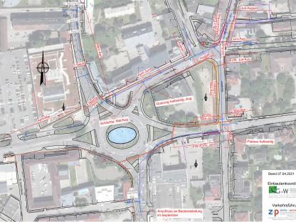 Grafische Darstellung des Bauzeitplans für 2021 von Groissmaier & Wurmetzberger sowie Zieritz + Partner