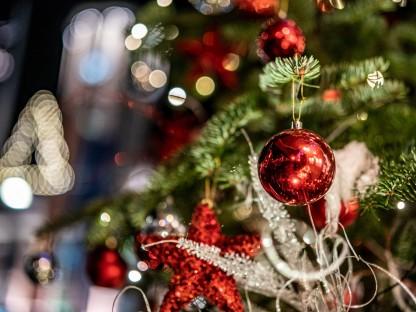 Weihnachtlich geschmückte Tanne aus der Nahperspektive. (Foto: Josef Bollwein)
