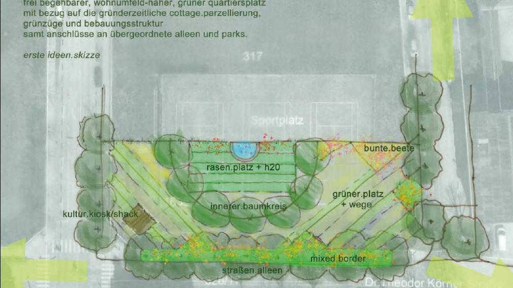 Kolorierte Skizze des neuen grünen Freiraums Ecke Jahnstraße / Dr. Theodor Körner Straße mit innerem Baumkreis, Wasserbecken, Beeten und Rasenflächen (Visualisierung: Technisches Büro für Landschaftsökologie und Planung).