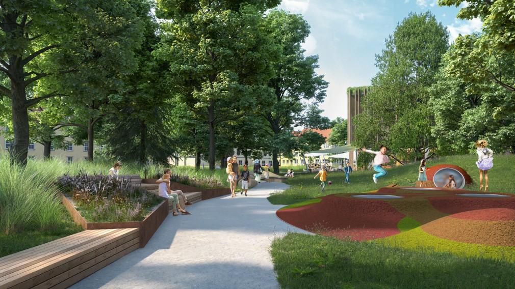 Eine erste Visualisierung zeigt, wie sich das KinderKunstLabor in den neu gestalteten Altoona-Park einfügt und die Grünfläche zur Straße hin abschirmt (Rendering: Steve Stiglmayr)