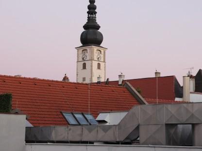 Vier Störche sitzen am Dach vom St. Pöltner Dom. (Foto: Stefan Zenkl)
