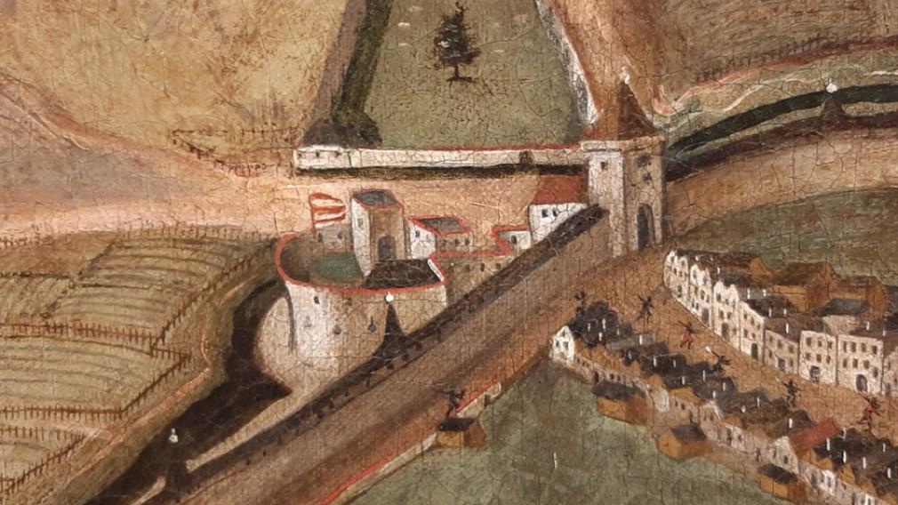 Ausschnitt aus der Stadtansicht von Balduin Hoyel 1623: zu erkennen ist das Wilhelmsburger Tor, später Linzer Tor genannt, mit dem Vorwerk. (Foto: Stadtmuseum St. Pölten)