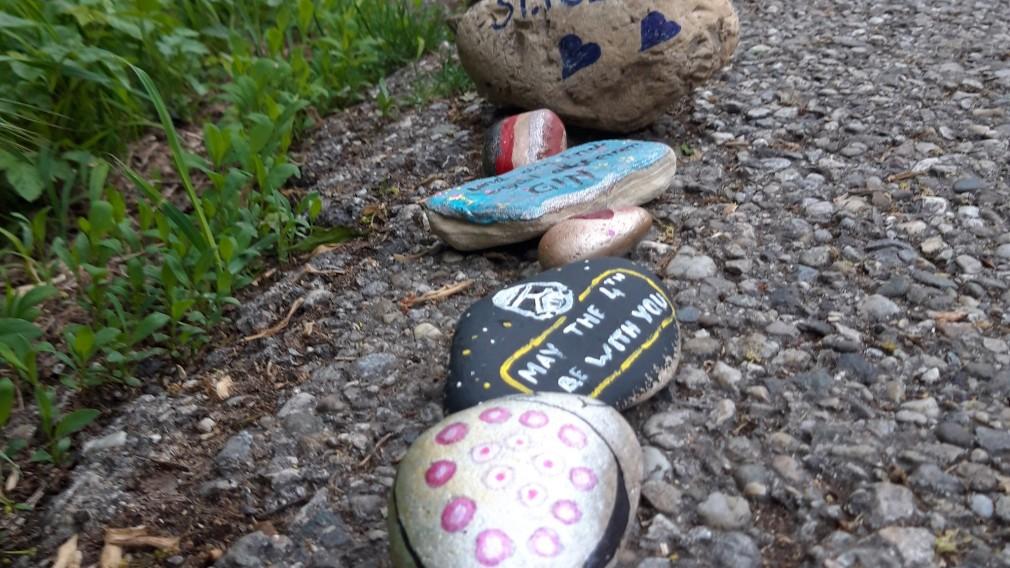 Bemalte Steine auf einem Asphaltweg. Foto: Matthias Stadler