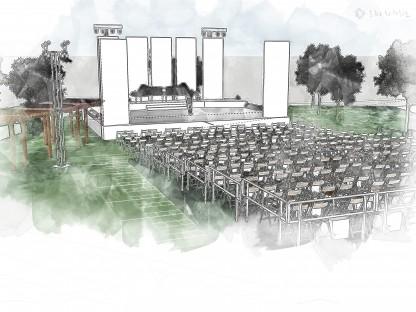 Eine Visualisierung der Bühne im wunderschönen Park des Kulturhauses St. Pölten-Wagram (Foto: Pro Kultur e.V.).