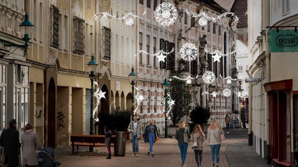 Die neue Winterbeleuchtung bringt mit modernen Lichtelementen Weihnachtsstimmung in die St. Pöltner Innenstadt. (Grafik: MK Illumination)