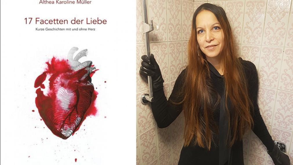 Buch-Cover 17 Facetten der Liebe und Portraitfoto von Althea Müller in einer Collage. (Foto: Althea Müller und Bettina Planyavsky)