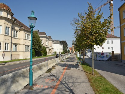 Sperre der Julius Raab-Promenade zwischen dem Linzer Tor und der Heßstraße. (Foto: Josef Vorlaufer)