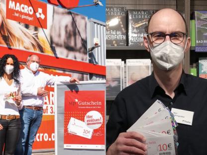 Gerhard Holzinger von Macro und Helmuth Fahrngruber von Thalia freuen sich über Kunden mit stp*Gutscheinen. Foto:pirvat