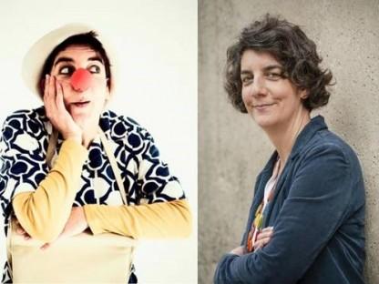 Portraitaufnahme von Mag.a Constanze Moritz und Portraitaufnahme als Clownin geschminkt. (Foto: Stefan Knittel)