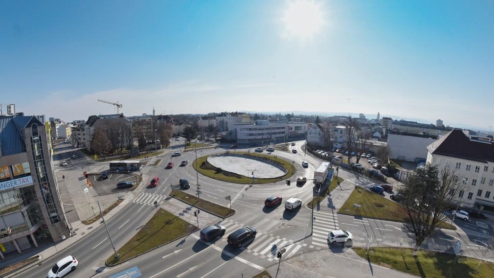 Der Europaplatz aus der Vogelperspektive. Foto: Josef Vorlaufer