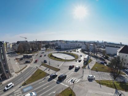 Luftaufnahme vom Europaplatz in Richtung Süden. (Foto: Josef Vorlaufer)