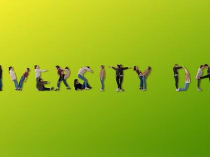 Eine Grafik zum Diversity Day: Der Schriftzug Diversity Day dargestellt mit Menschenkörpern. (Foto: Büro für Diversität)