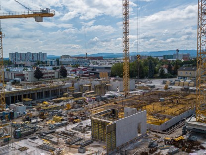 Luftbild von Baustelle des ÖBB Bildungscampus. (Foto: ÖBB Konrad Kaiser).